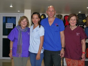 Marcel Campbell RAN, Ramya Moang Cambodian RN, Richard Burrowes RAN, Carmel Horsburgh Midwife/RN